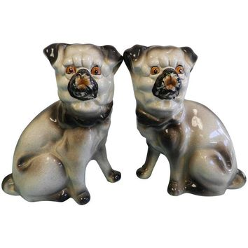 Pre-owned Vintage English Pug Dog Statues - A Pair
