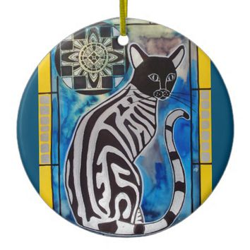 Whimsical Silver Tabby Cat with Mandala Ceramic Ornament