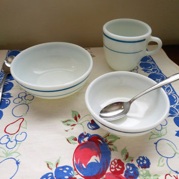 Vintage Pyrex Breakfast Set, Pyrex Turquoise Band Tableware, Pyrex Turquoise Band Cup and Two Bowls Pyrex 708-35, Pyrex 705-13, Pyrex 703-31