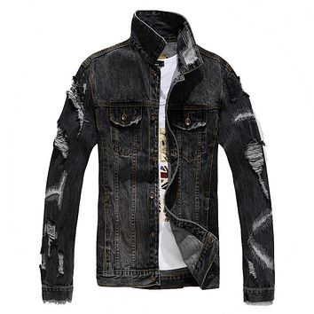 Men's casual holes ripped denim jacket Slim gray black patch distressed torn coat