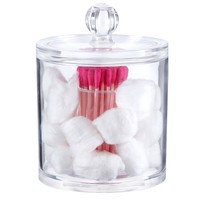PuTwo Makeup Organizer Bathroom Storage Multifunction Organizer Cotton Balls and Cotton Buds Holder - Small Round