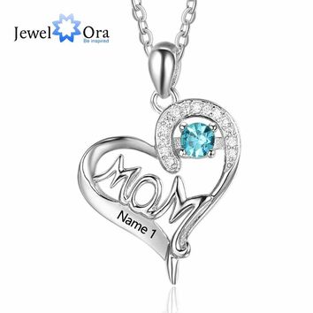 Personalized 925 Sterling Silver Birthstone Necklace with Mom Shape Love and Heart Jewelry Best Gift for Mom JewelOra NE101895