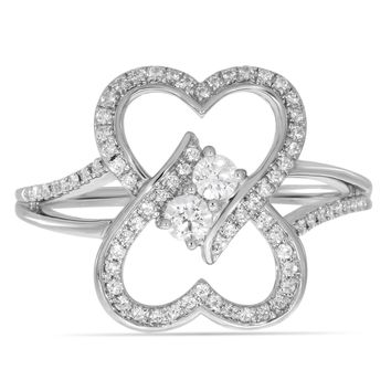 "I Love Us™  3/4ct.tw Two Stone Heart to Heart Bond Together Diamond Ring (G-H / I1-I2) ""My Best Friend is My True Love®"" - White G-H in 14K Gold"