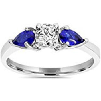 228 1ct 3 Stone Pear Shape Blue Sapphire & Diamond Engagement Ring 14K White Gold