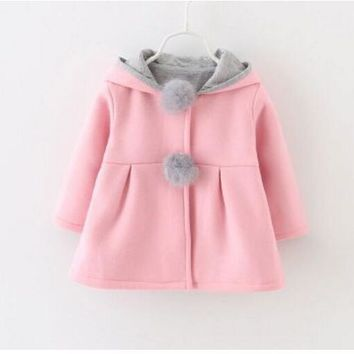 2017 New girls Korean spring and autumn sweater children's long-sleeved cardigan infants and young children padded coat coat