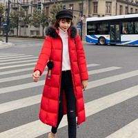 2019 Fur Hooded Parka Casaco Feminino Female Jacket Coat Plus Size Winter Jacket Women Casual Down Cotton Long Padded Parkas