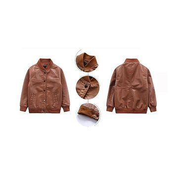 New Boys Casual Faux Leather Jackets Fashion Kids Solid Leather Coat Spring Children Autumn Outwear
