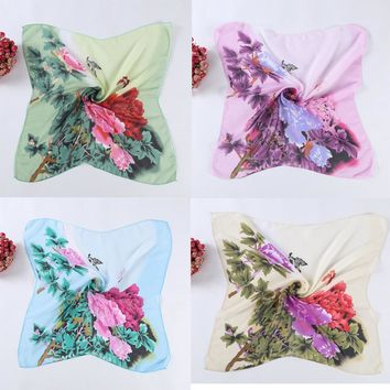 Lady's Work Wear Chiffon Square Scarf Peony Print Women Casual Fashion Four Seasons Scarf Head Wrap Kerchief Neck Shawl 60*60cm
