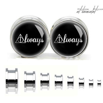 Vintage Harry Potter Deathly hollows stainless steel ear gauge, silvery tunnel plugs,Stainless Steel Screw Ear Gauges,