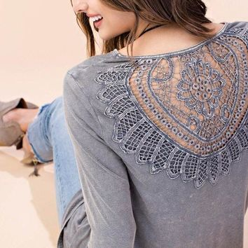 Mineral Washed Lace Back Top