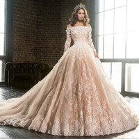 Luxury Wedding Dress Boat Neck Long Sleeve Lace Applique Flowers Brides Champagne Long Train Bridal Gowns 2017