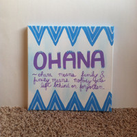 12x12 canvas blue, purple, white acrylic Ohana- Ohana means family & family means nobody gets left behind or forgotten.