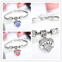 Multi Color Engraved Nurse Silver Bracelet Heart Rhinestone Crystal Charm Gift