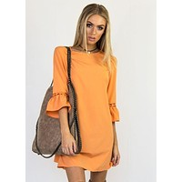 Women's Solid Color Long Sleeve Dress