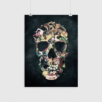 Vintage Skull Poster, Sugar Skull Wall Art, Unique Skull Art Print Home Decor
