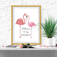 Will you be my Valentine print Digital Valentine card Love birds Valentine decor Couples gifts Large Valentine sign 5x7 8x10 16x20 DOWNLOAD