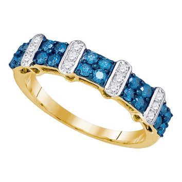 10kt Yellow Gold Womens Round Blue Color Enhanced Diamond Band Ring 3/4 Cttw