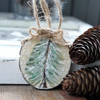 Natural  Woodland Christmas Ornament  Hand Painted Evergreen Holiday Decoration (2)