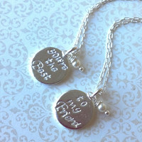 You're the Best...to my Friend.....Best Friend Necklaces-Thai Silver Handstamped Set-Gift for Best Friend/BFF Gift