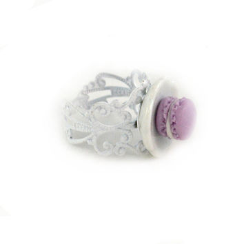 Miniature Purple Macaron Ring Food Fashion Jewelry