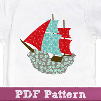 Pirate ship applique pattern design - baby boy applique PDF template
