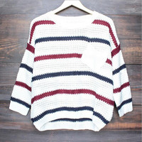 Striped Round Neck Long-Sleeve Sweater