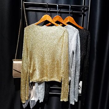 Cakucool Gold Lurex Knit Tops Women Long Sleeve Slash Neck Sequined Jumpers Thin Silver Thread See-through Sexy Women Sweaters