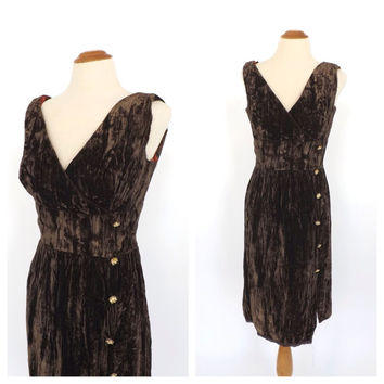 Vintage 1960s Olive Green Brown Velvet Mini Cocktail Dress Bombshell Mod 60s Couture Fitted Sheath Dress 50s Holiday Party Wiggle Dress