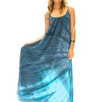 9 seed Tulum Spaghetti Strap Long Cover Up In Dawn Tie Dye