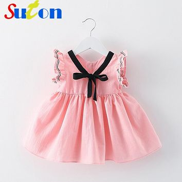 2017 Summer New Baby Girl Dress Bow Collar Mini A-Line Tutu Princess Dress Cute Button Cotton Kids Clothing 0-2 y