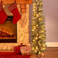 4 Ft Lighted Alpine Slim Tree Burlap Base Christmas Holiday Seasonal Home Decor