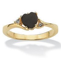 Heart-Shaped Genuine Onyx and Crystal Accent 14k Yellow Gold-Plated Ring on PalmBeach Jewelry