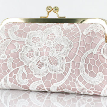 Bridal Blush Pink Clutch with White Lace Overlay 8-inch L'HERITAGE