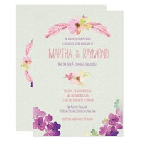 Feathers and Flowers, Wedding Invitations