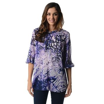 Women's 3/4 Three Quarter Sleeve Printed Chiffon