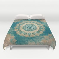 GOLD BOHOCHIC MANDALA IN GREENS Duvet Cover by Nika | Society6