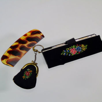 Western Germany Petite Mirror Case w Comb and Tiny Change Pouch Vintage Retro Set