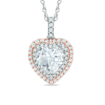 8.0mm Heart-Shaped Lab-Created White Sapphire Double Frame Pendant in Sterling Silver with 14K Rose Gold Plate