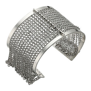 Steve Madden Cut Out Open Cuff Bracelet with Chain Bangle