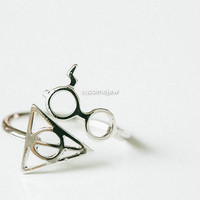 glazed harrypotter symbol glasses ring,rings,gold rings,couple rings,cool ring,adjustable rings,Harry Potter Ring,cute ring,mens ring,SKD467