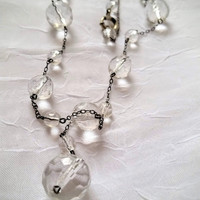 Art Deco Y Necklace, Faceted Rock Crystal Quartz Beads, Lavalier Drop
