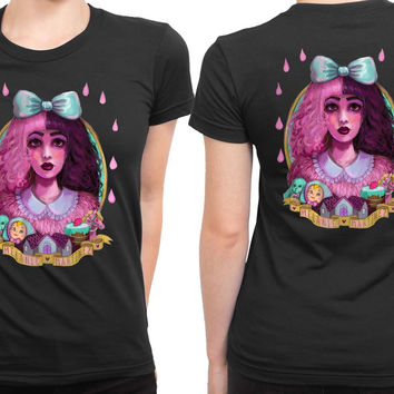 Melanie Martinez Sketch On Water Colour Canvas Art 2 Sided Womens T Shirt