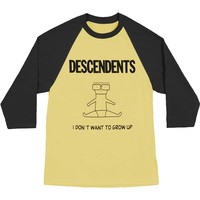 Descendents Men's  Grow Up Raglan Baseball Jersey Black/Yellow Rockabilia