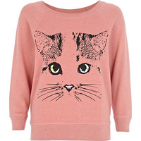 River Island Womens Pink cat print sweat pajama top