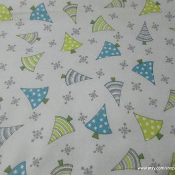 Christmas Flannel Fabric - Arctic Antics Tree Toss Gray - 1 yard - 100% Cotton Flannel