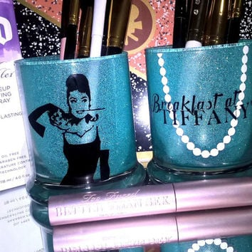 2PC set Breakfast at Tiffanys Audrey Hepburn Makeup Brush Holders - YOU CUSTOMIZE!