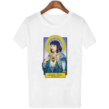 406aad3bf4e7 Fiction Saint Mia Saint Jules t shirt Catholicism Womens clothing Pulp  Female casual christmas poleras Harajuku