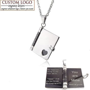 Unisex- Stainless Steel- Choice Of Engraving- Gold Book Pendant Necklaces-For Personalized Name Or Couple's Necklace. 6 Design Styles.