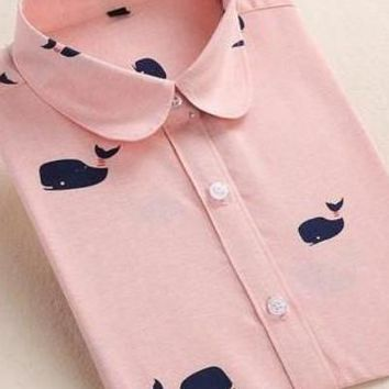 Whale Pink Long Sleeve Cotton Shirts
