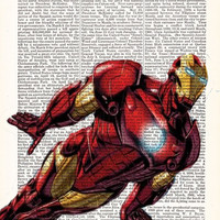 Ironman Superhero Art Poster Comic Book Art- DICTIONARY Print Avengers- Gift For Boyfriend Gift- Dorm Wall Decor- Husband Gift